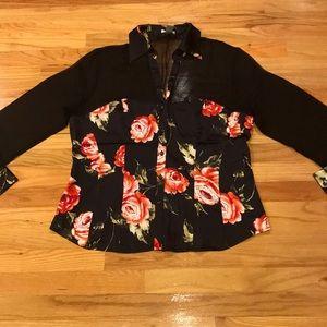 Cache Silk satin floral blouse Sz XL